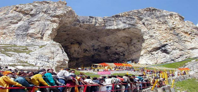 pictorial view of holy cave of shiva- amarnath