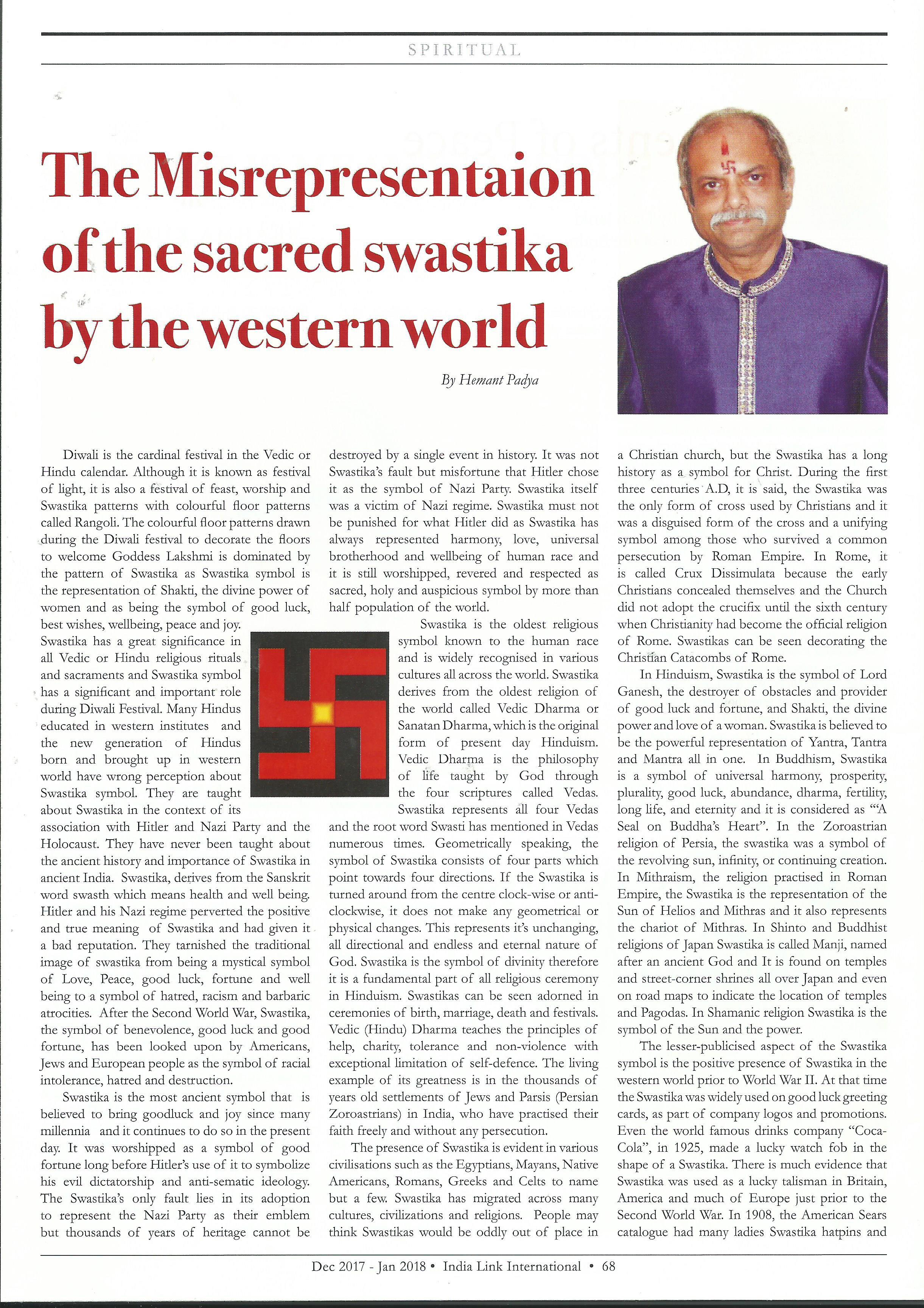 The Misrepresentation The Sacred Swastika By The Western World
